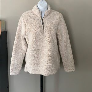 Sherpa style pullover quarter zip